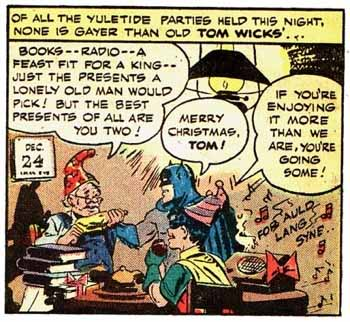 Batman and Robin celebrate Christmas, in Batman #15 (1942)