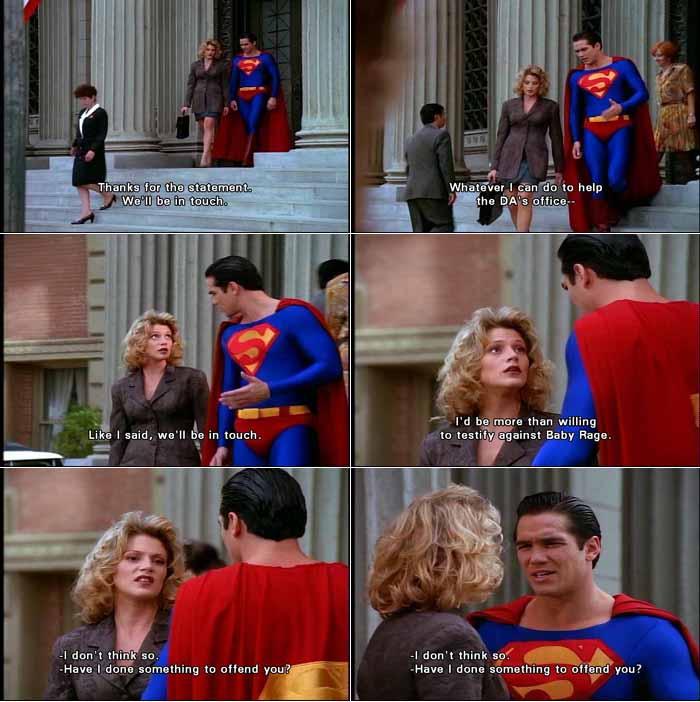 Assistant District Attorney Mayson Drake treats Superman coldly and doesn't want his assistance