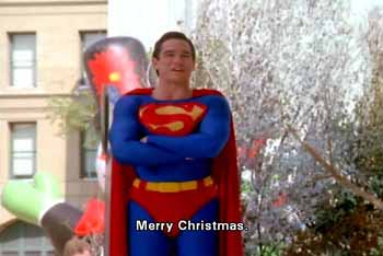 Superman tells children: Merry Christmas