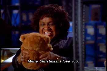 Teddy bear created by the Toyman says: Merry Christmas, I love you