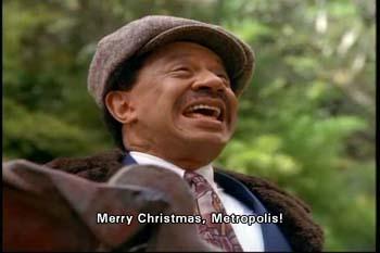 Toyman shouts ironically: Merry Christmas, Metropolis!
