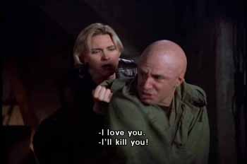 Dr. Gretchen Kelly declares her love for Lex Luthor, who wants to kill her for endangering the woman HE loves - Lois Lane