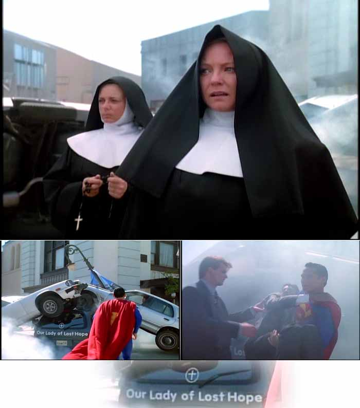 Catholic nuns watch as Superman comes to the rescue at an automobile accident