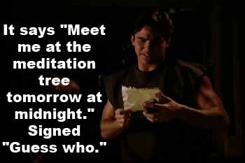Clark Kent reads note: 'Meet me at the meditation tree tomorrow at midnight'