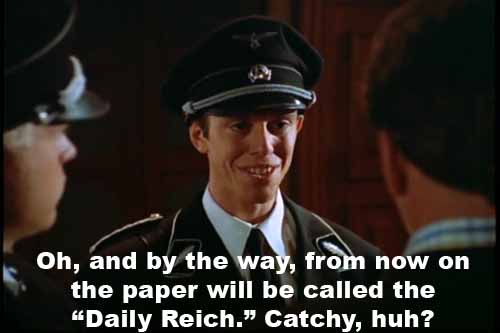 Nazi officer Skip wants to rename the Daily Planet, calling it 'The Daily Reich'