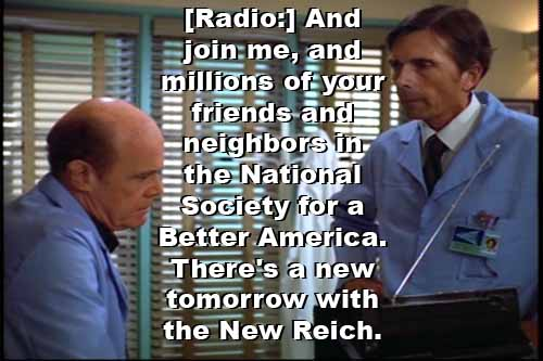 Dr. Klein listens to Nazi propaganda on radio: 'There's a new tomorrow with the New Reich'