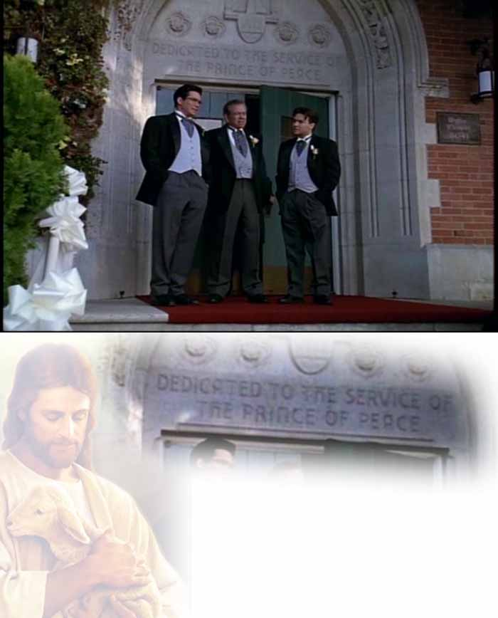 'Dedicated to the Service of the Prince of Peace': Clark Kent, Perry White and Jimmy Olsen stand on the front steps of the Protestant Christian chapel in which Clark will marry Lois