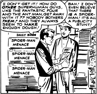 Peter Parker is frustrated after being labeled a menace by J. Jonah Jameson's newspapers. Peter here is primarily thinking about making money