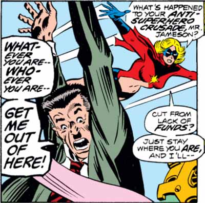 Ms. Marvel wonders where J. Jonah Jameson's anti-superhero crusade has gone when he needs to be rescued by her from the Scorpion