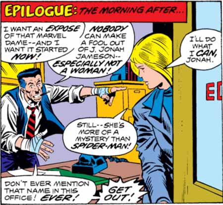 J. Jonah Jameson's hatred for Spider-Man is evident in how he reacts to Carol Danvers mentioning him
