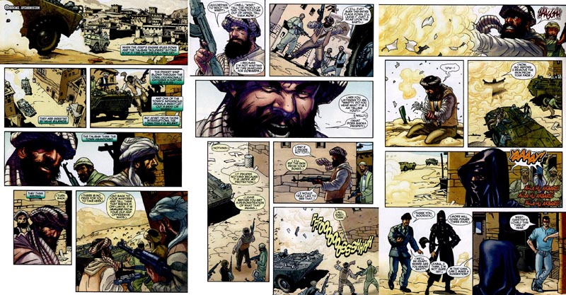 Radical Muslim soldiers of the Taliban attack a village in Afghanistan, but are rebuffed by the Muslim super-hero known as Dust.
