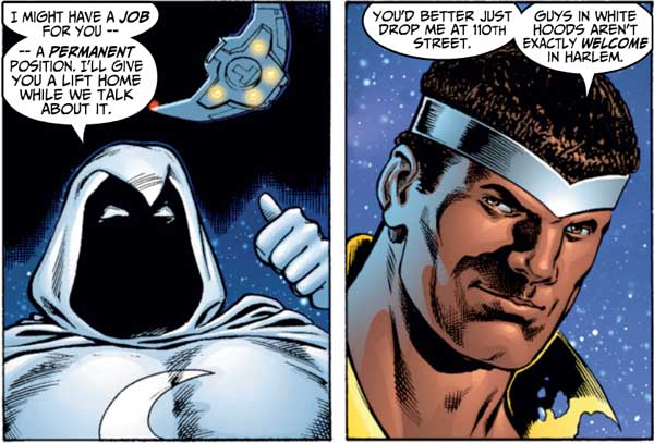 Luke Cage makes a good-natured joke with Moon Knight about the Ku Klux Klan