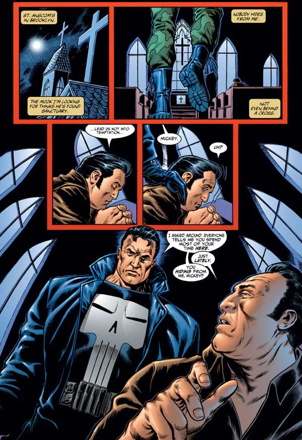 The Punisher finds his long-time informant Mickey Fondozzi praying in St. Anscom's Catholic Church, a place the man has lately been spending considerable time at.