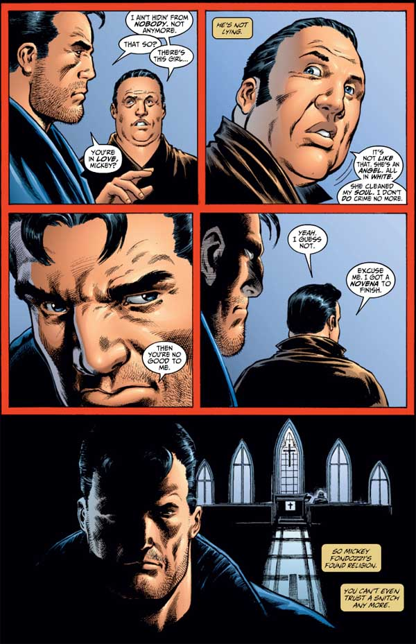 Since experiencing Dagger's soul-cleansing light daggers, the Punisher's informant Mickey Fondozzi has sincerely repented of his criminal ways