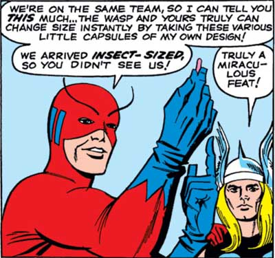 Thor calls Hank Pym's scientific achievement miraculous