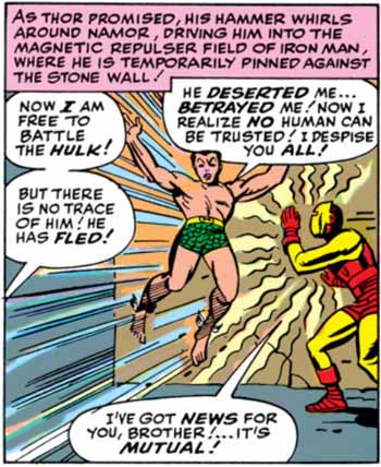 After the Hulk (as Bruce Banner) flees the battle against the Avengers, his ally Sub-Mariner finds yet another reason to hate humanity