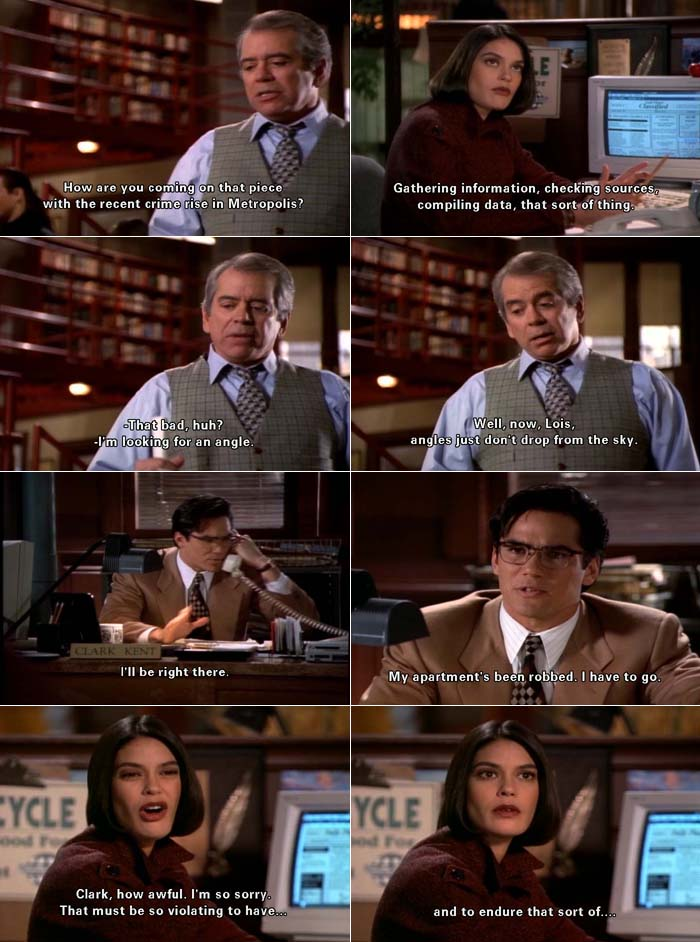 Perry White asks Lois Lane about a story she's having trouble with