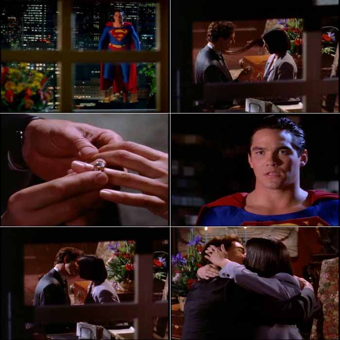 Superman watches as Lois Lane accepts Lex Luthor's marriage proposal