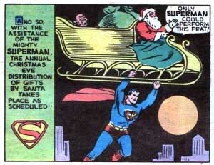Christmas scene: Superman carries Santa Claus and his sleigh