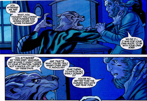 Wolf Cub threatens Maximus Lobo (a now de-powered former mutant), who once led a group of lupine mutant supremacists.